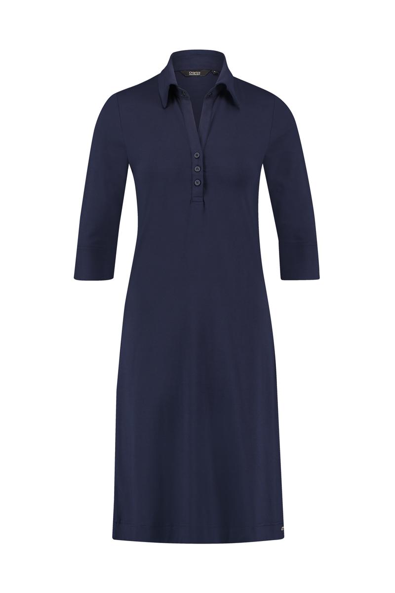 - A-lijn polo jurk met knoopjes - ¾ mouw - comfortabel basis jurk  materiaal: 95% viscose 5% elastaan