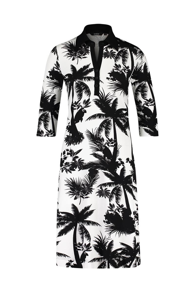 - A-lijn polo jurk met knoopjes - Mouwlengte ¾  materiaal: 95% viscose 5% elastaan